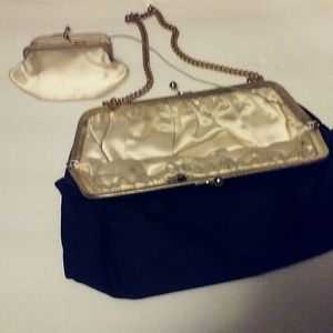 Vintage Silk Evening Bag With Unique Coin Purse